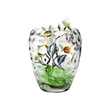 Florero de cristal decorado rama bolas 30 x 23 cm
