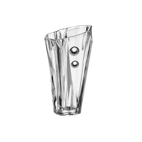 Florero cristal Bohemia Angle Treasure decorado con plata cerchio