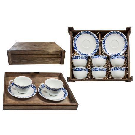 Juego de té 6 tazas y platos en caja de madera modelo moments Celta