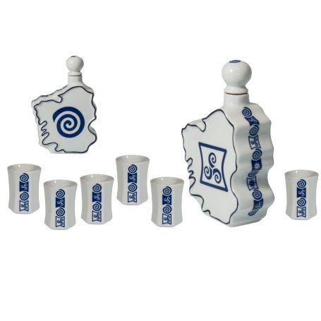 Juego de chupitos y botella mapa en porcelana 7 piezas