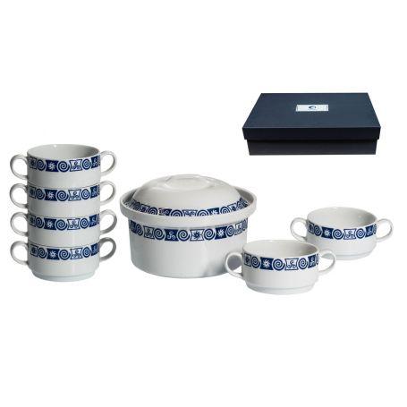Juego de consomé de 7 piezas de porcelana Luna Celta