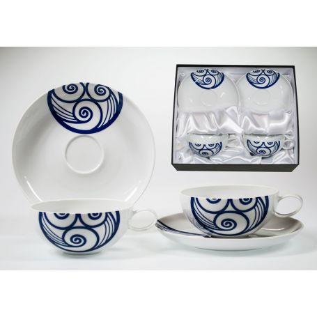 Juego tazas desayuno con plato en porcelana Domo Lua