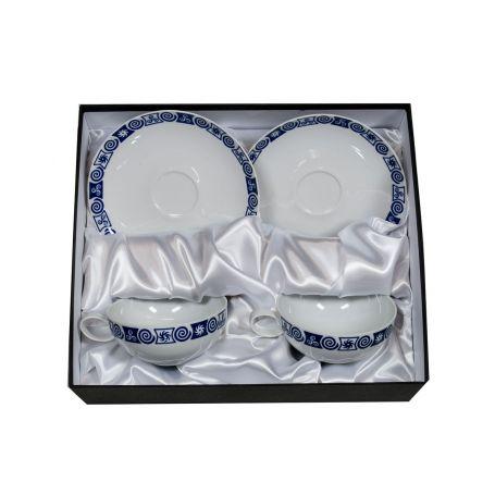 Juego tazas desayuno con plato en porcelana Domo Celta
