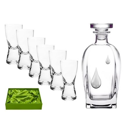 Juego de licor 6 servicios chupitos Samba y botella Rosini Gota