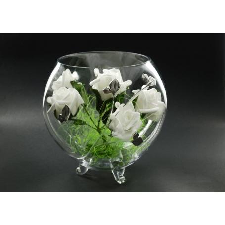 Footed Aquario vase (petals engraving)