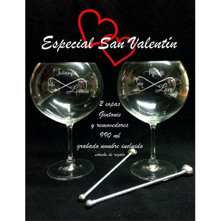 Copas Gin Tonic grabadas especial San Valentin dia enamorados