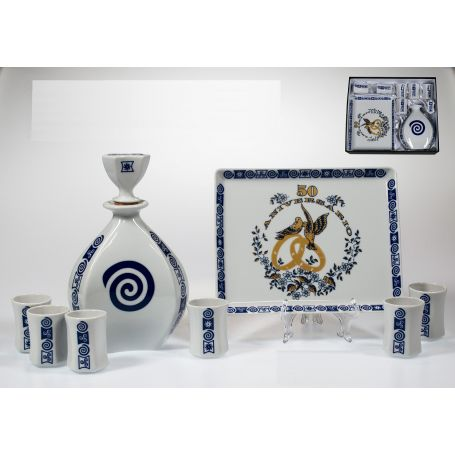 Juego de chupitos, botella y bandeja porcelana bodas oro Lagoa