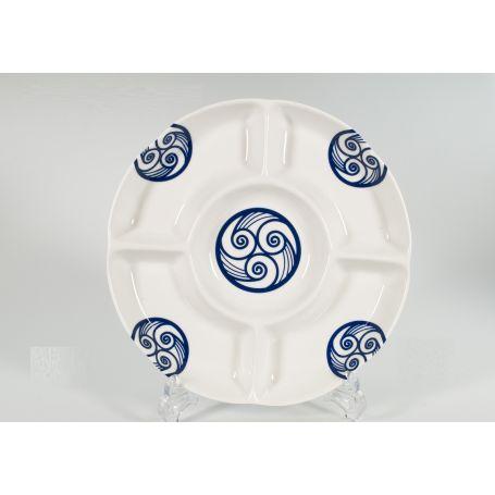 Bandeja de porcelana para entremeses modelo Gracias Lua ø 28 cm