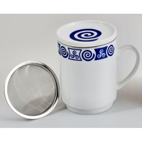 Taza Mug con tapa de porcelana modelo Valle Celta