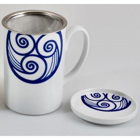 Taza Mug con tapa de porcelana modelo Valle Lua