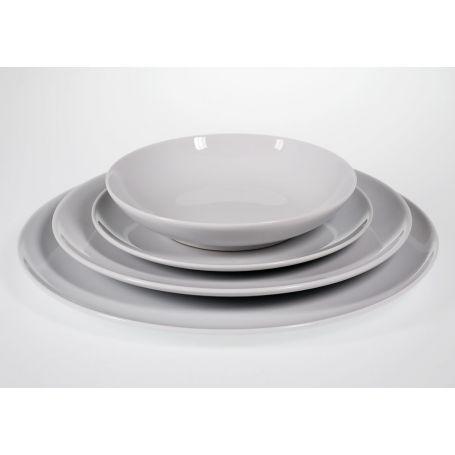 Plato redondo de porcelana modelo multiforma blanco