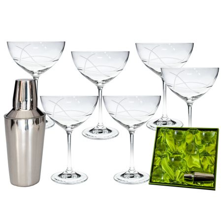 Cocktail Margarita set. Six glasses (Diego engraving) and cocktail shaker