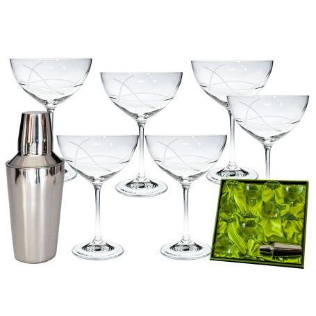 juego de 6 copas de cristal de bohemia tallado para cóctel margarita