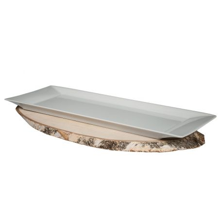 Bandeja blanca de porcelana Brazo Gitano Torto 45 x 15 x 2 cm