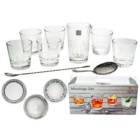 Juego 6 vasos de cristal lisos y jarra 9 Piezas mixology