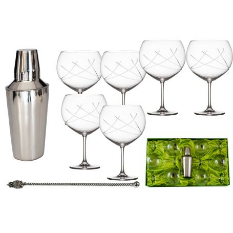 Gin and Tonic set. Six glasses (E5 engraving), stirrer and shaker.