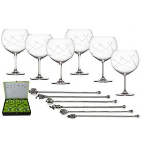Gin and Tonic set. Six glasses and stirrers