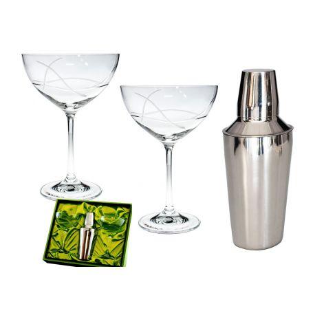 Copas cristal bohemia champan personalizada grabada coctel Martini en estuche
