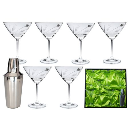 Martini Bohemia Gastro set. Six glasses and shaker (petals decoration)