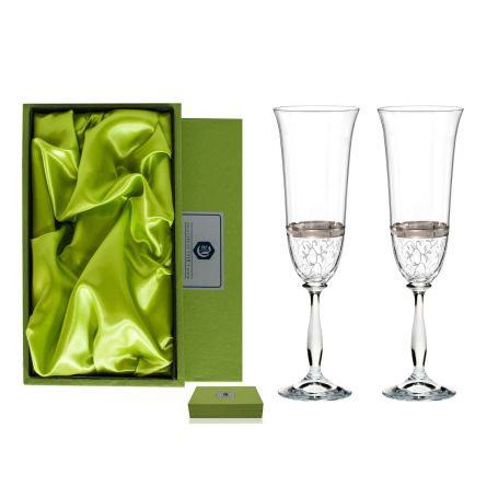 Fuchsia champagne flutes for wedding or anniversary gift