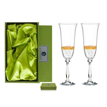 Copas champan y cava Angela personalizadas oro sin apliques plata estuche