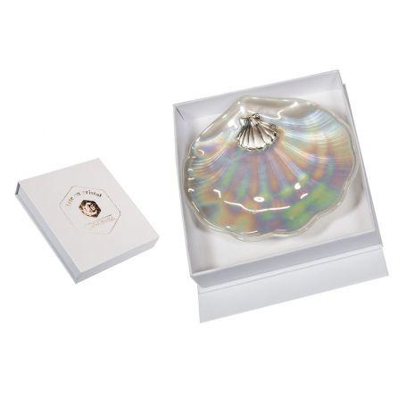 Concha bautismal con placa de plata bilaminada