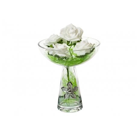 Florero cristal ramo novias con placa bilaminada