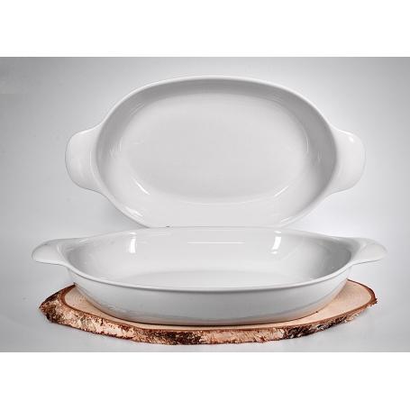 Bandeja para horno de porcelana y servir forma ovalada 48x27x7