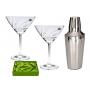 set 2 copas martini Gastro petalo plata y talla