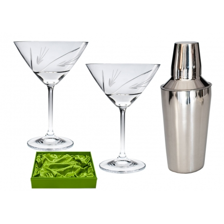 Set 2 copas martini y coctelera talla petalos