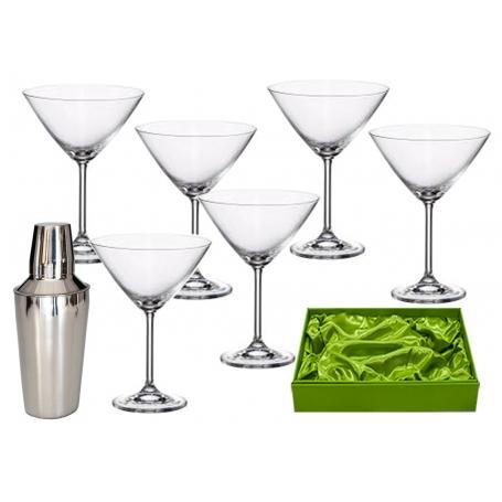 juego martini 6 copas lisas y coctelera