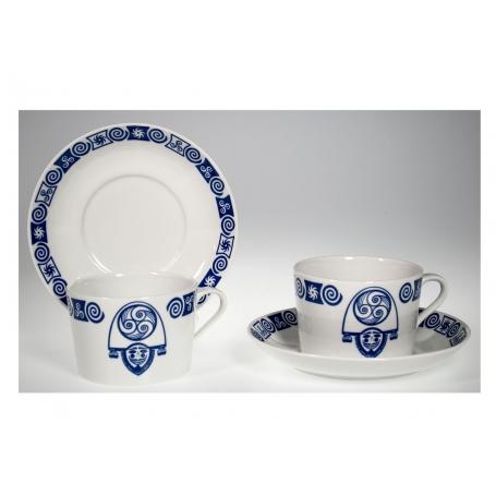 Taza desayuno Porcelana gallega Celta Cigarron Pombal con plato