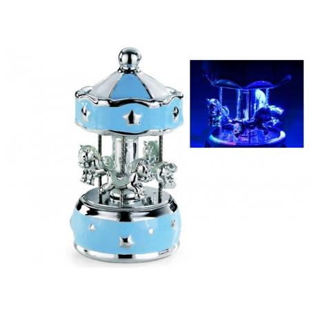 carrusel azul con luz nocturna