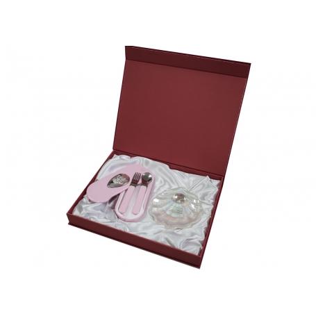 seet infantil concha y set cubiertos rosa