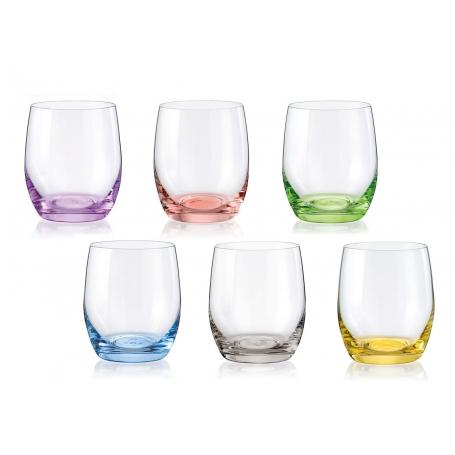 Juego de 6 vasos de cristal de colores Bohemia Rainbow