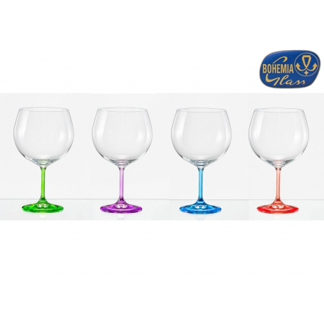 Juego de 4 copas gin tonic bohemia color. cristalsio.com